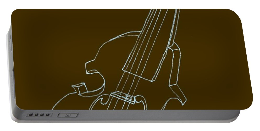 Drawing Portable Battery Charger featuring the digital art The Cello by Michelle Calkins