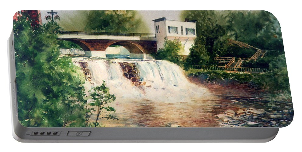 Chagrin Falls Portable Battery Charger featuring the painting The Chagrin Falls In Summer by Maryann Boysen