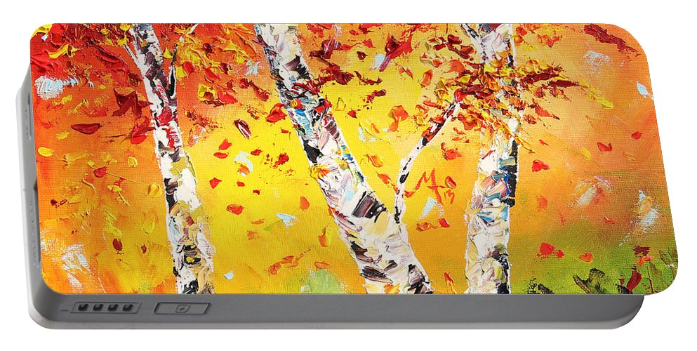 Autumn Portable Battery Charger featuring the painting The Change by Meaghan Troup