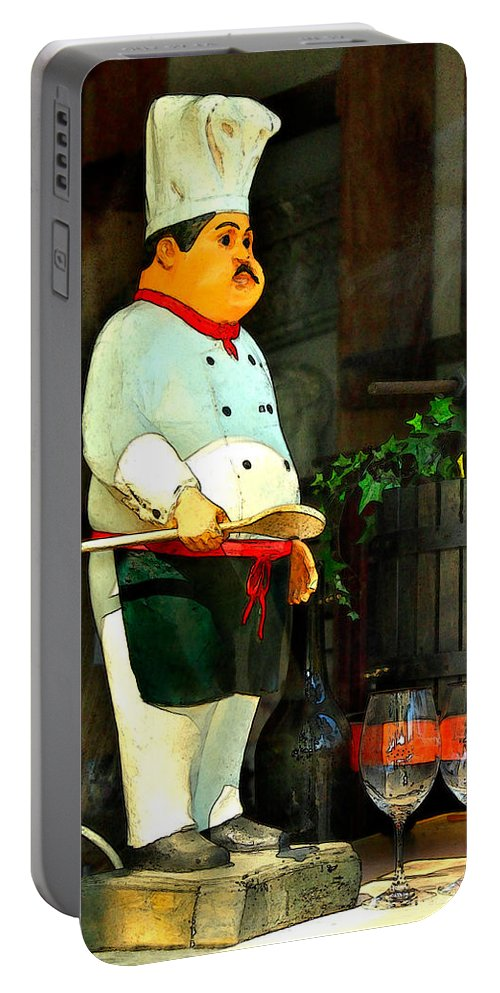 Chef Portable Battery Charger featuring the photograph The Chef In The Window by James Eddy