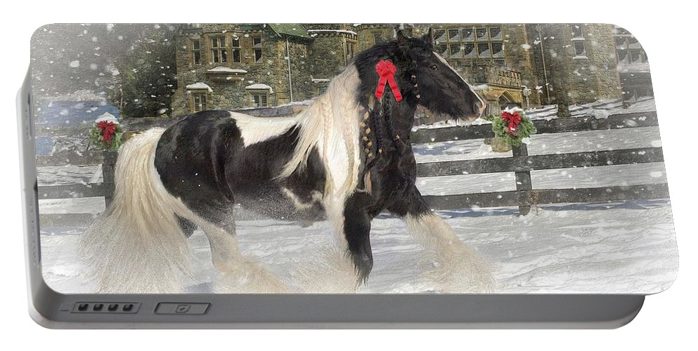 Christmas Portable Battery Charger featuring the mixed media The Christmas Pony by Fran J Scott