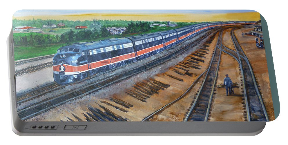 Train Portable Battery Charger featuring the painting The City Of New Orleans by Bryan Bustard