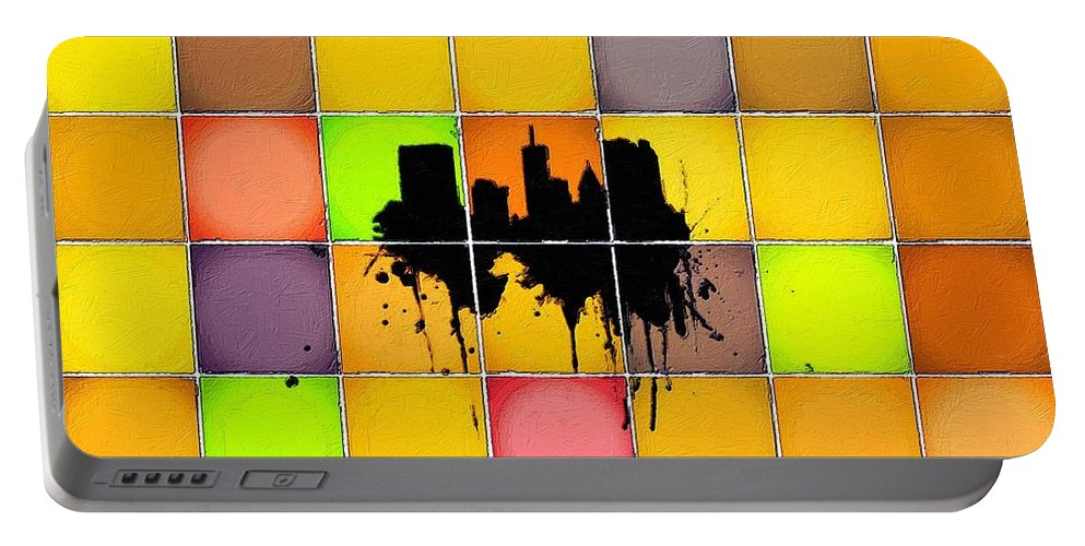 City Portable Battery Charger featuring the painting The City Splash by Florian Rodarte