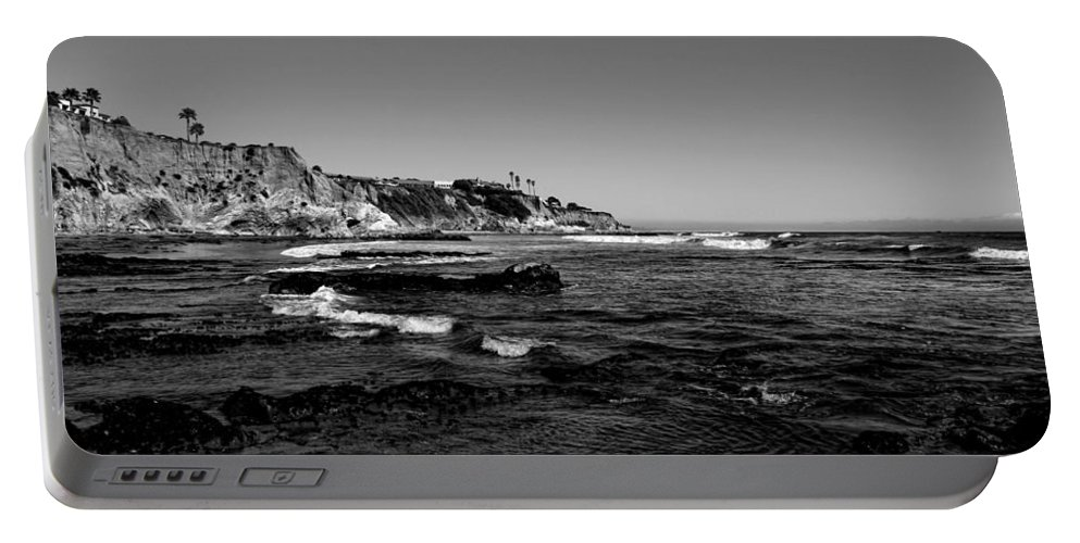 Pismo Beach Portable Battery Charger featuring the photograph The Cliffs Of Pismo Beach Bw by Judy Vincent