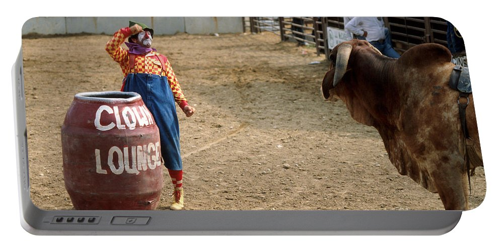 Rodeo Portable Battery Charger featuring the photograph The Clown by Jerry McElroy