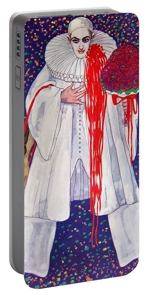 Clown Portable Battery Charger featuring the painting The Clown by Mountain Dreams