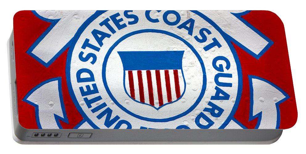 United Portable Battery Charger featuring the photograph The Coast Guard Shield by Olivier Le Queinec