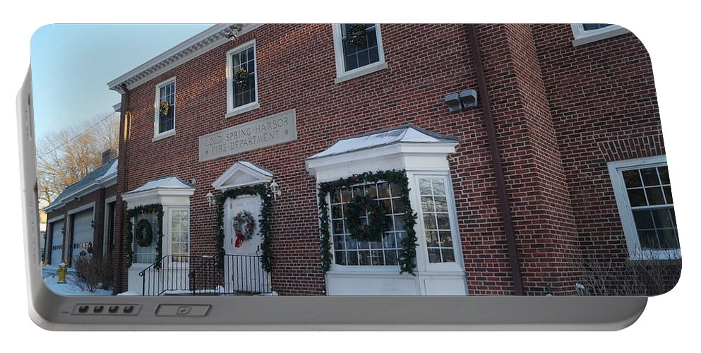 Firehouse Portable Battery Charger featuring the photograph The Cold Spring Harbor Firehouse by John Wall