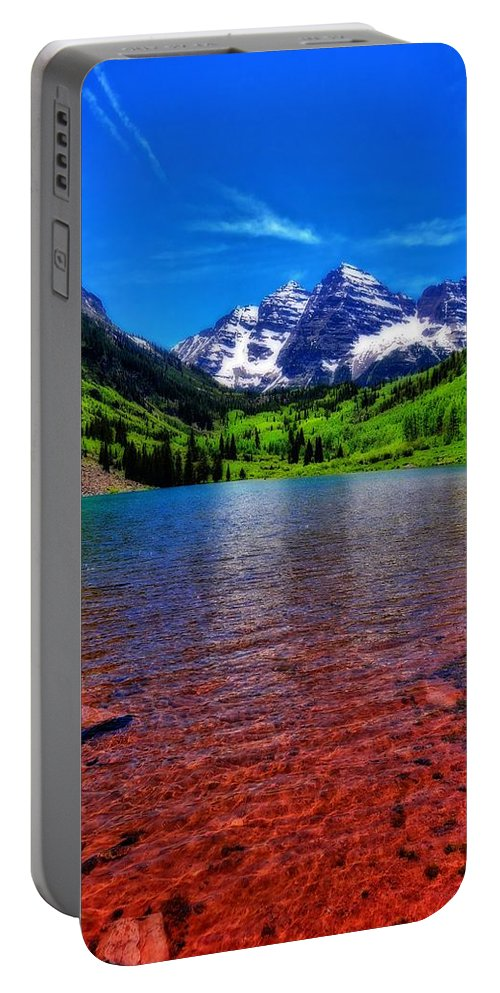 The Color Of Maroon Bells In Summer Portable Battery Charger featuring the photograph The Colors Of Maroon Bells In Summer by Dan Sproul