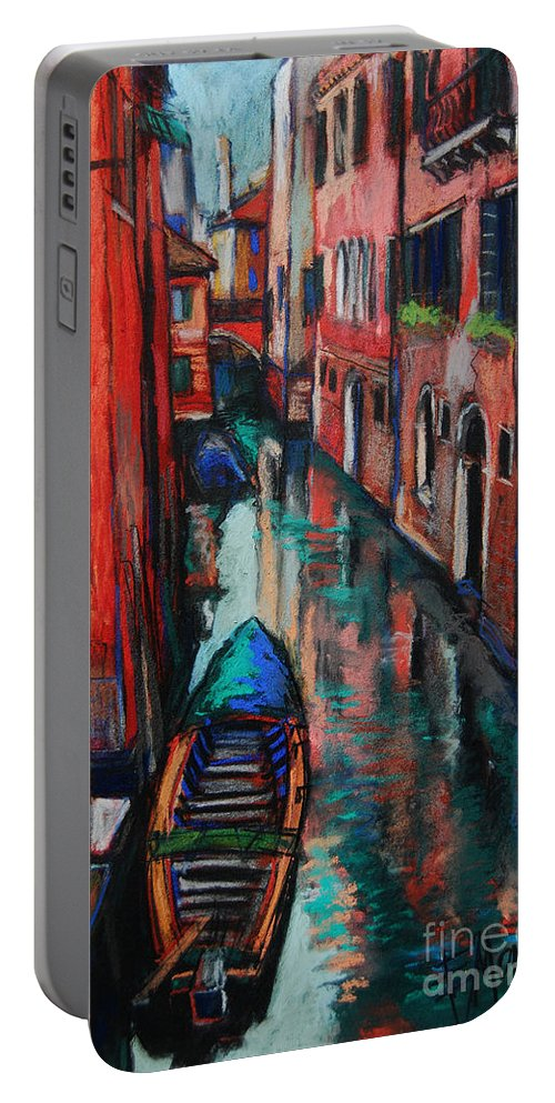 The Colors Of Venice Portable Battery Charger featuring the painting The Colors Of Venice by Mona Edulesco