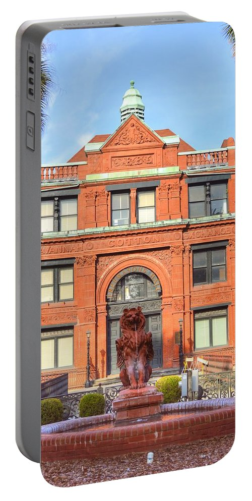 Cotton Exchange Portable Battery Charger featuring the photograph The Cotton Exchange Building by Linda Covino