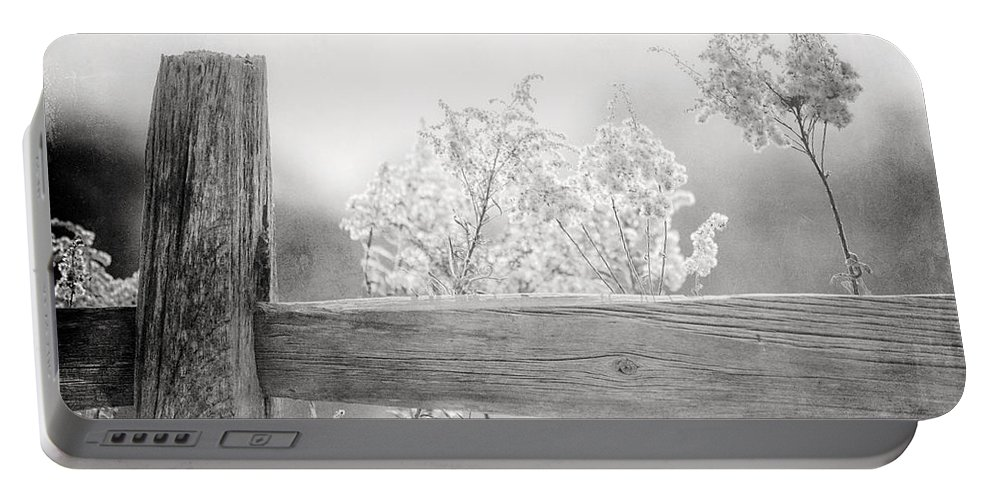 Black And White Portable Battery Charger featuring the photograph The Country Fence In Black And White by Lisa Russo