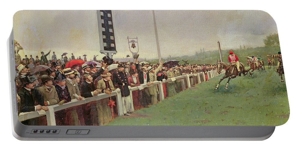 Racing Portable Battery Charger featuring the painting The Course At Longchamps by Jean Beraud