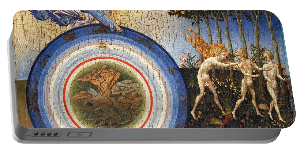 Religion Portable Battery Charger featuring the painting The Creation Of The World And The Expulsion From Paradise by Giovanni Di Paolo