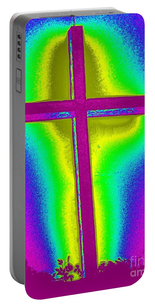 Pop Art Portable Battery Charger featuring the photograph The Cross 2 by Ed Weidman