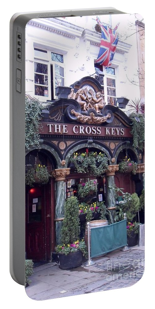 Restaurant Portable Battery Charger featuring the digital art The Cross Keys by David Voutsinas
