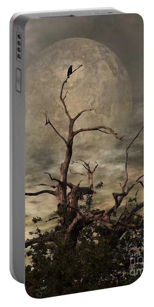 Crow Portable Battery Charger featuring the digital art The Crow Tree by Abbie Shores