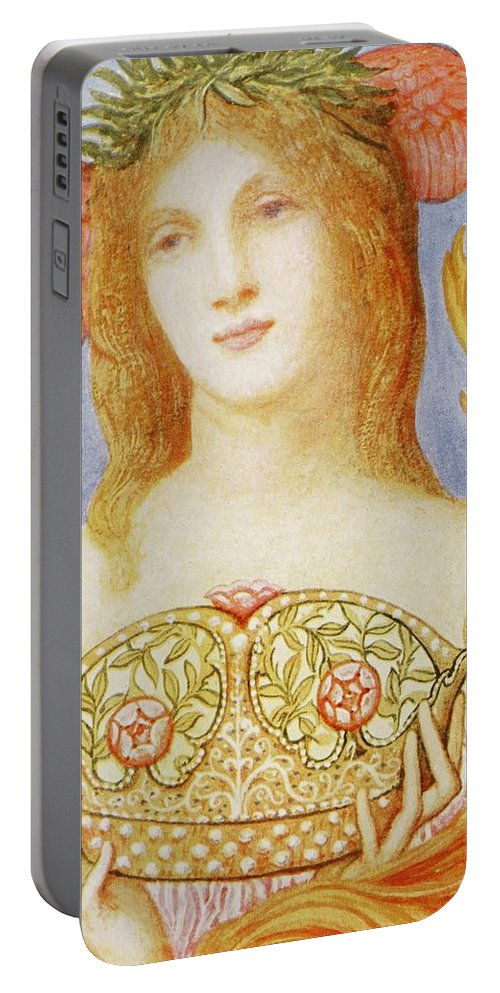 Female Portable Battery Charger featuring the painting The Crown Of Peace by Sir William Blake Richmond