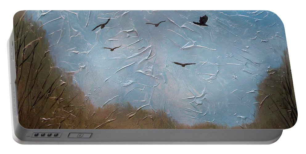 Landscape Portable Battery Charger featuring the painting The crows by Sergey Bezhinets
