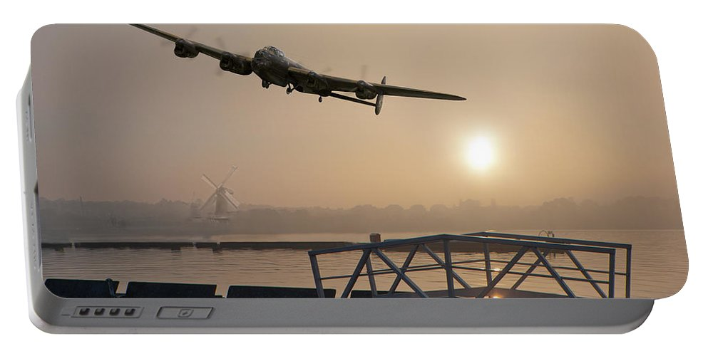Dambusters Portable Battery Charger featuring the photograph The Dambusters - Last One Home by Gary Eason