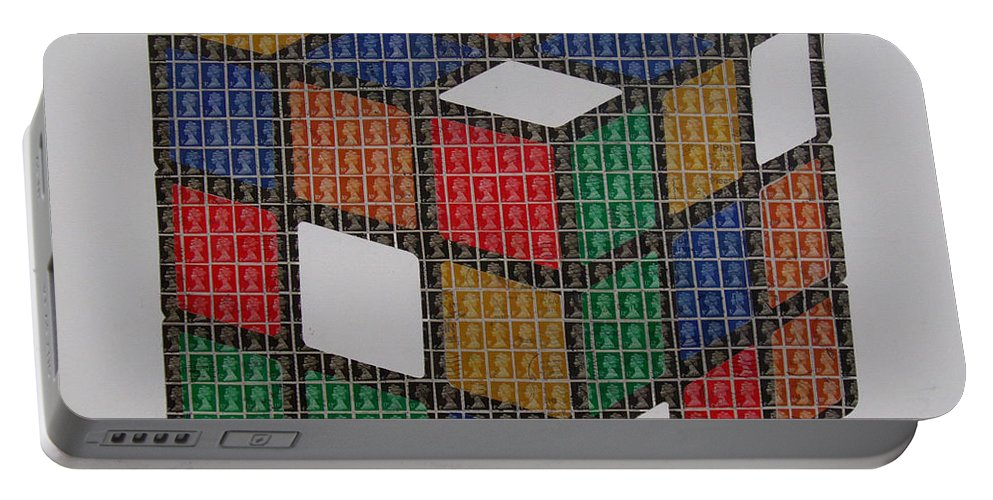 Rubiks Cube Portable Battery Charger featuring the painting The Dammed Cube by Gary Hogben