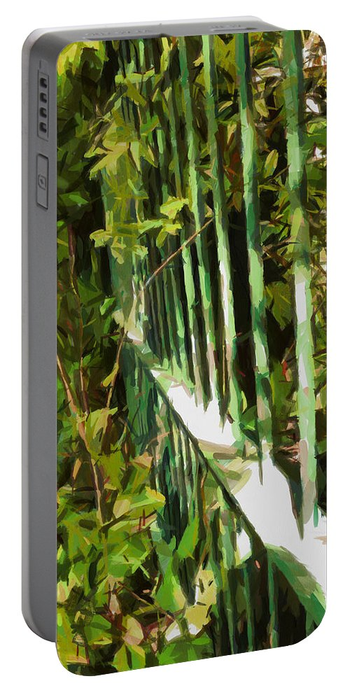 Bushes Portable Battery Charger featuring the digital art The Dappled Railings by Steve Taylor