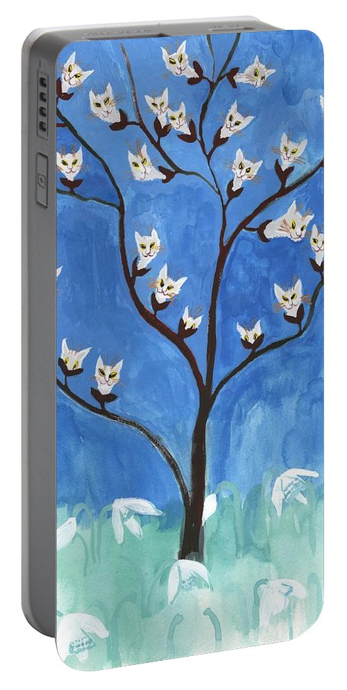 Pussy Willows Portable Battery Charger featuring the painting The Darling Buds Of February by Sushila Burgess