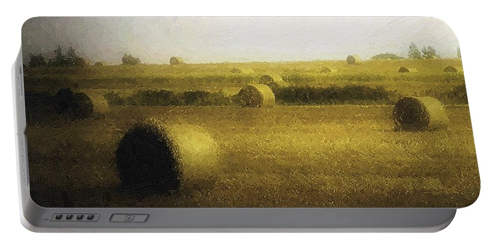 Field Portable Battery Charger featuring the painting The Dawning by RC DeWinter
