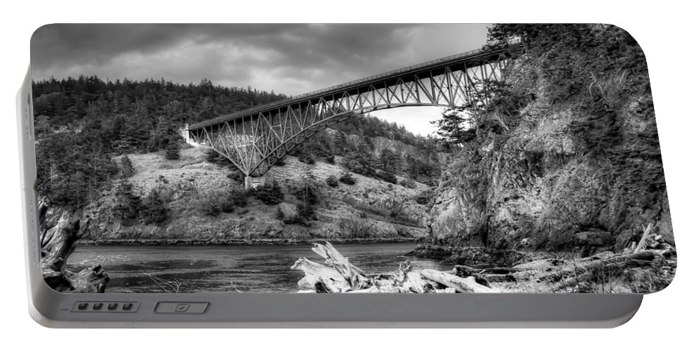 Monotone Portable Battery Charger featuring the photograph The Deception Pass Bridge II Bw by David Patterson