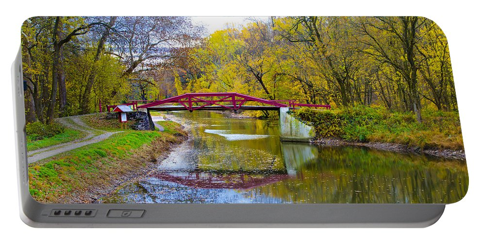 The Portable Battery Charger featuring the photograph The Delaware Canal Near New Hope Pa In Autumn by Bill Cannon