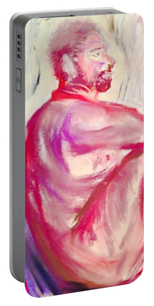 Life Drawing Of A Male In Red And Brown Pastel Portable Battery Charger featuring the pastel The Devil Meditates by Julene Franki