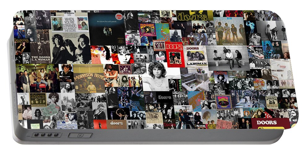 The Doors Portable Battery Charger featuring the digital art The Doors Collage by Zapista OU