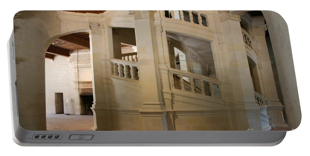 Staircase Portable Battery Charger featuring the photograph The Double-helix Staircase Chateau Chambord - France by Christiane Schulze Art And Photography