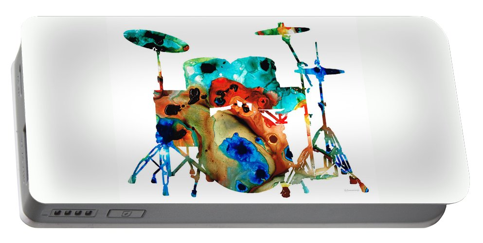 Drum Portable Battery Charger featuring the painting The Drums - Music Art By Sharon Cummings by Sharon Cummings