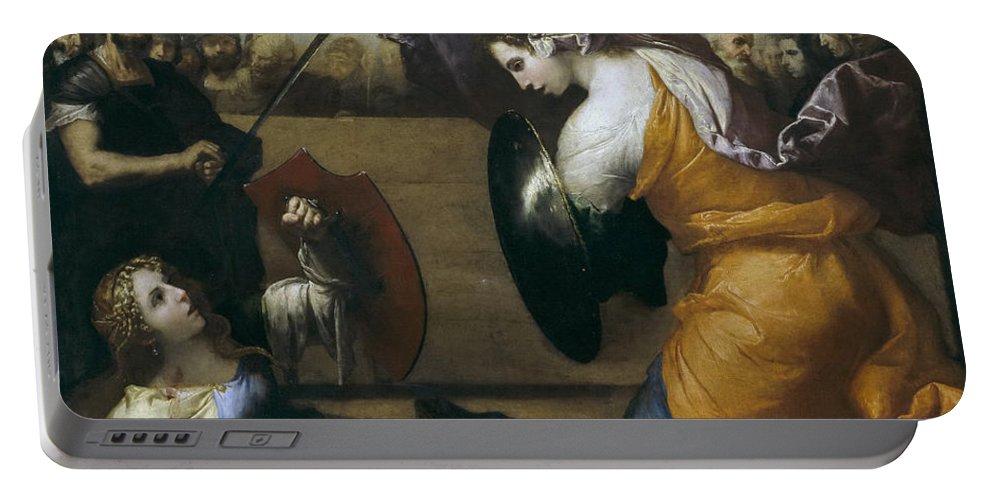 Jusepe De Ribera Portable Battery Charger featuring the painting The Duel Of Isabella De Carazzi And Diambra De Pottinella by Jusepe de Ribera