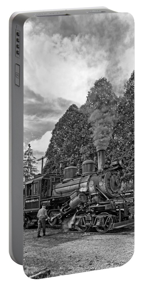 Pocahontas County Portable Battery Charger featuring the photograph The Durbin Rocket Monochrome by Steve Harrington