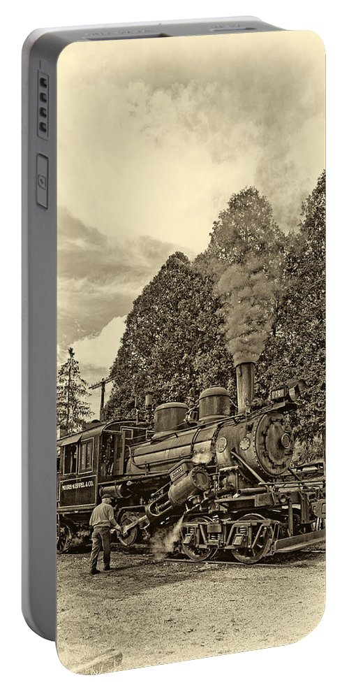 Pocahontas County Portable Battery Charger featuring the photograph The Durbin Rocket Sepia by Steve Harrington