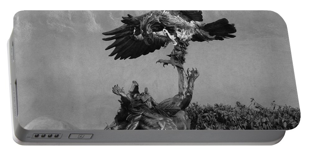 Eagle Portable Battery Charger featuring the photograph The Eagle And The Indian In Black And White by Rob Hans