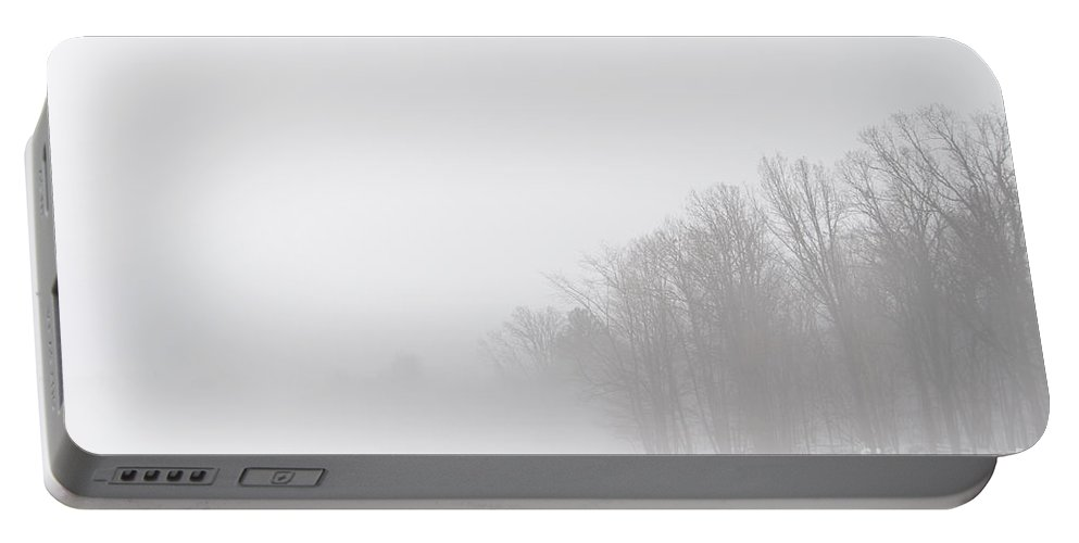 Landscapes Portable Battery Charger featuring the photograph The Edge Of The Misty Woods by Cheryl Baxter