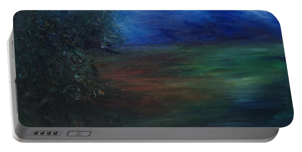 Woodland Portable Battery Charger featuring the painting The Edge Of The Woods by Christine Cobden