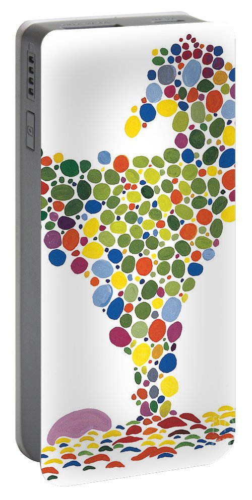 Contemporary Portable Battery Charger featuring the painting The Egg by Bjorn Sjogren