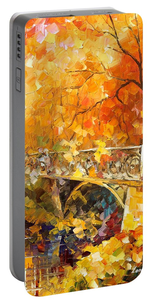 Oil Paintings Portable Battery Charger featuring the painting The Embassay Of Autumn - Palette Knife Oil Painting On Canvas By Leonid Afremov by Leonid Afremov