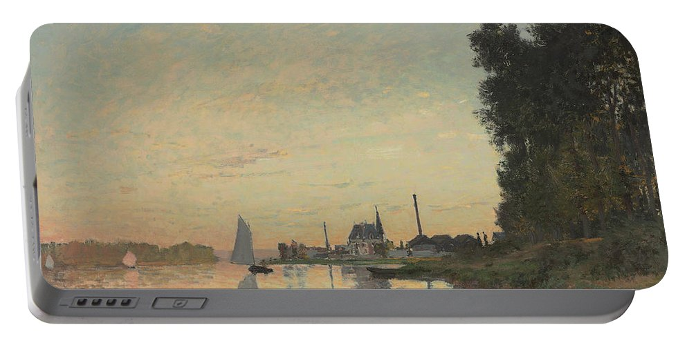 Boat Portable Battery Charger featuring the painting The End Of The Afternoon by Claude Monet