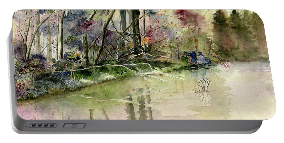 The End Of Wonderful Day Portable Battery Charger featuring the painting The End Of Wonderful Day by Melly Terpening