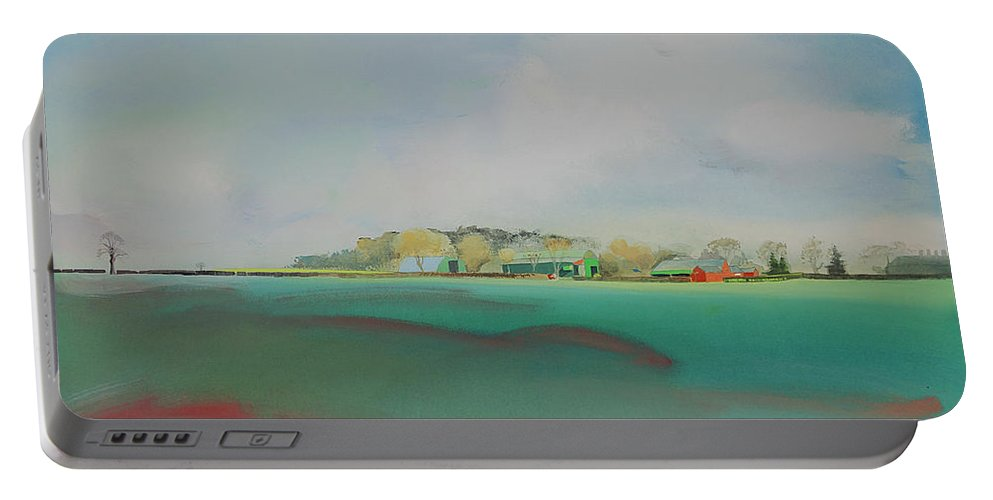 Landscape Portable Battery Charger featuring the painting The English Farm  A Break In The Cloud by Charles Stuart