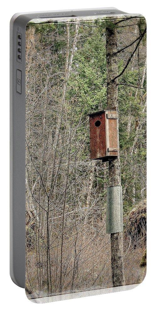Hamilton Marsh Portable Battery Charger featuring the photograph Birdhouse Environment Of Hamilton Marsh by Roxy Hurtubise