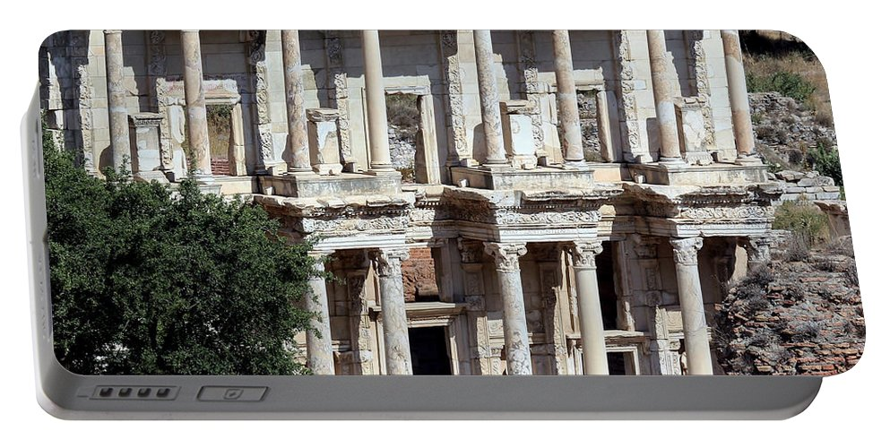 Ancient Portable Battery Charger featuring the photograph The Ephesus Library In Turkey by Sabrina L Ryan