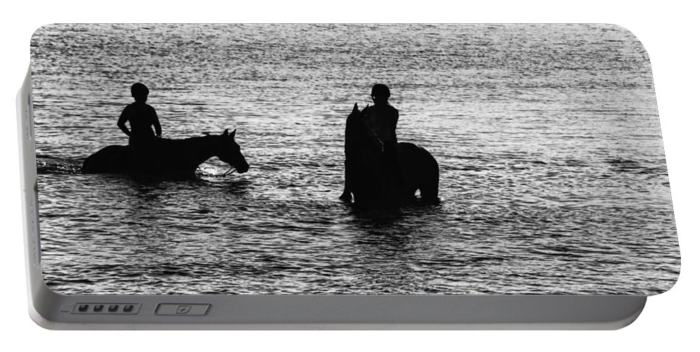 Equestrian Portable Battery Charger featuring the photograph The Equestrians-silhouette by Douglas Barnard