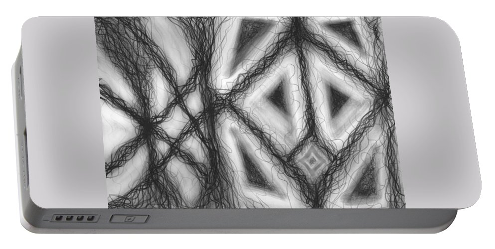 Black Portable Battery Charger featuring the digital art The Expansion Of Energy Is Everywhere by Daina White