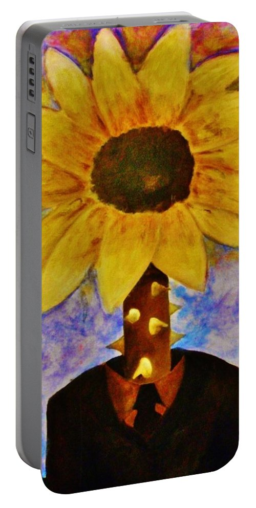 Surreal Portable Battery Charger featuring the painting The Extraordinary Man by Crystal Menicola